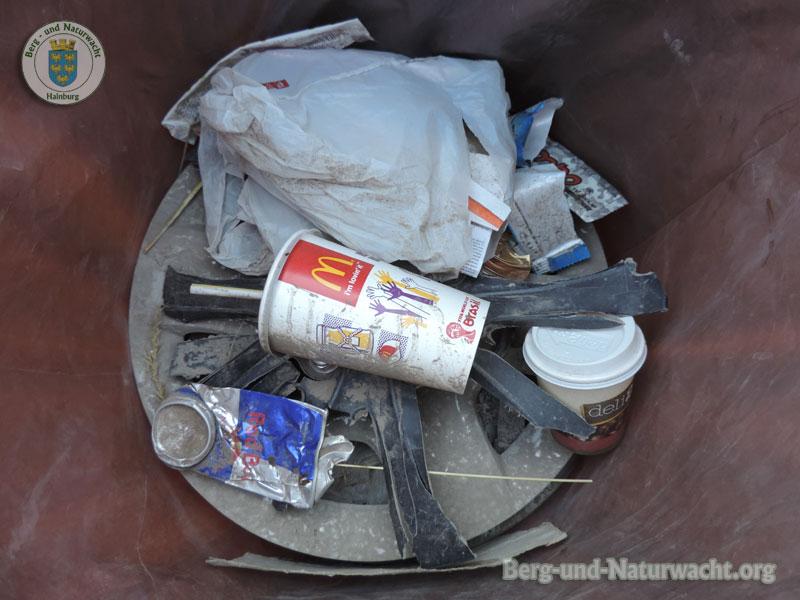 Über ein halbes Dutzend Radzierkappen und anderen Müll eingesammelt | Foto: Berg-und-Naturwacht.org