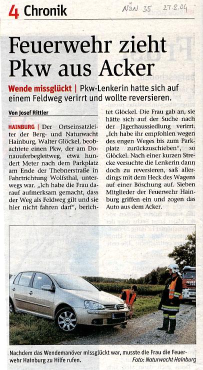 Medienbericht NÖN über Einsatz Feldschutzorgan Hainburg | (C) NÖN