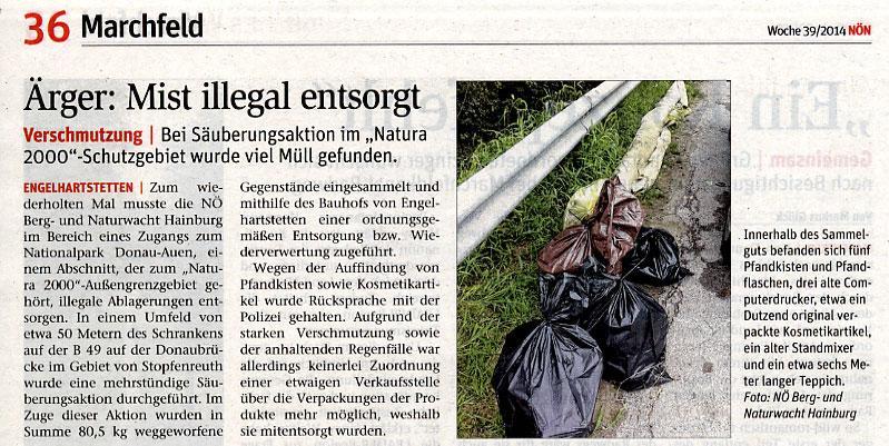 Medienbericht der NÖN Gänserndorf über NÖ Berg- und Naturwacht Hainburg