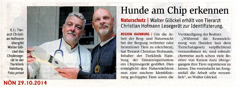 Medienbericht der NÖN über Schenkung eines Chiplesegerätes von Mag. Christian Hofmann (Tierklink Hainburg) an den Verein NÖ Berg- und Naturwacht Ortseinsatzleitung Hainburg